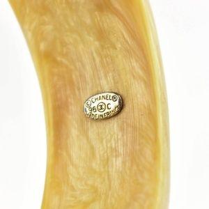 "CHANEL Jewelry - CHANEL: Beige, Horn & ""CC"" Logo Bangle/Bracelet mo"